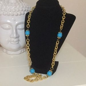 Jewelry - Gold color chain turquoise color beads necklace